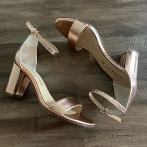 Unisa Rose Gold Shiny Daeicy Block Strappy Heels